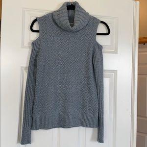 Cold shoulder turtle neck sweater